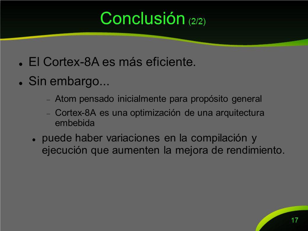 Conclusión (2/2) El Cortex-8A es más eficiente. Sin embargo...