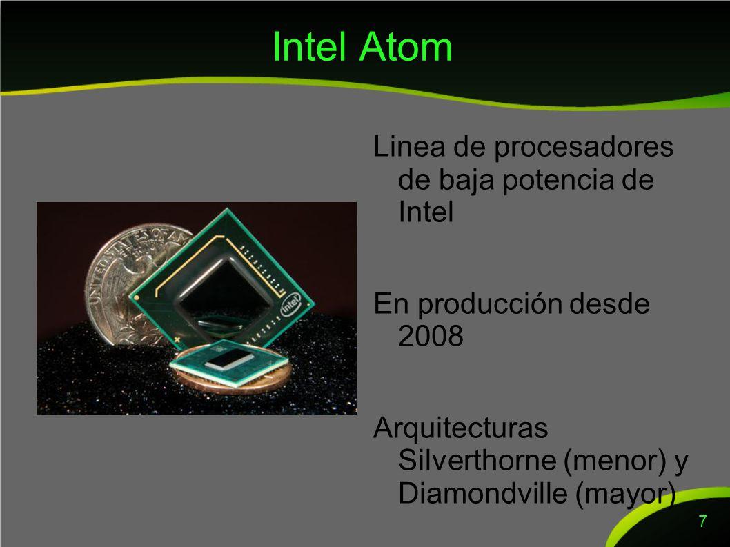 Intel Atom Linea de procesadores de baja potencia de Intel En producción desde 2008 Arquitecturas Silverthorne (menor) y Diamondville (mayor) 7