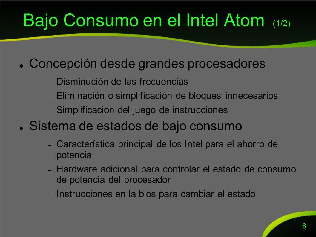 Bajo Consumo en el Intel Atom (2/2) Diagrama de estados de bajo consumo 9 C0: normal C1 (ambos): ejecución normal sin extras C2: Solo monitoriza bus de memoria e interrupciones C4: Solo se mantiene el contexto Actualmente existe otro estado de menor consumo incluso.