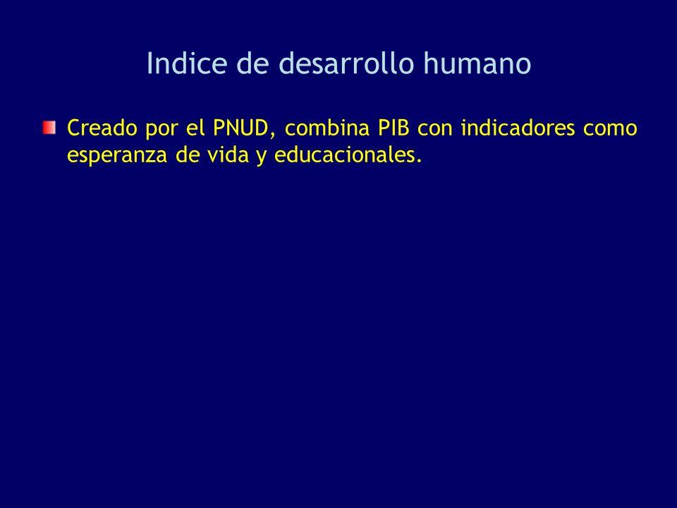 Indice de desarrollo humano Creado por el PNUD, combina PIB con indicadores como esperanza de vida y educacionales.