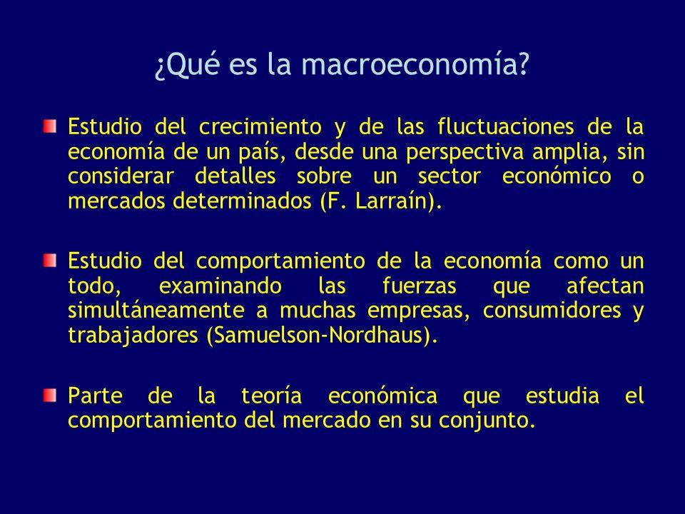 ¿Qué es la macroeconomía? Estudio del crecimiento y de las fluctuaciones de la economía de un país, desde una perspectiva amplia, sin considerar detal