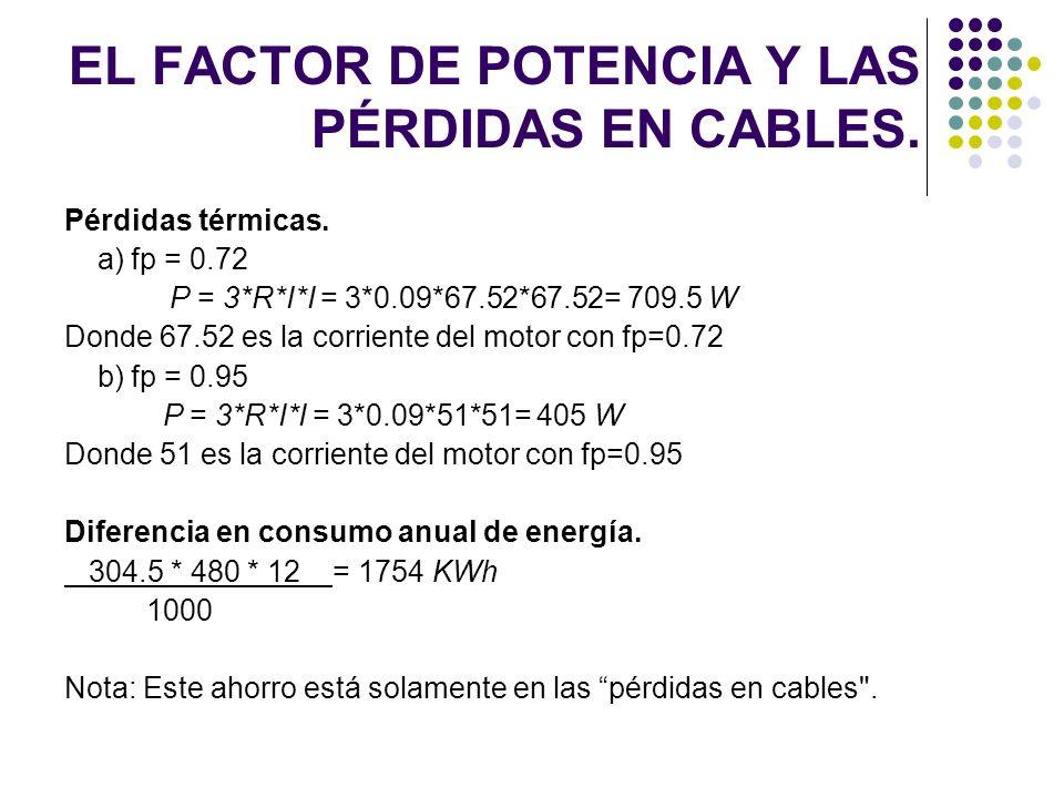 Pérdidas térmicas. a) fp = 0.72 P = 3*R*I*I = 3*0.09*67.52*67.52= 709.5 W Donde 67.52 es la corriente del motor con fp=0.72 b) fp = 0.95 P = 3*R*I*I =