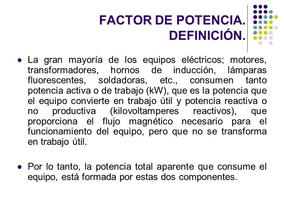 FACTOR DE POTENCIA. DEFINICIÓN. La gran mayoría de los equipos eléctricos; motores, transformadores, hornos de inducción, lámparas fluorescentes, sold