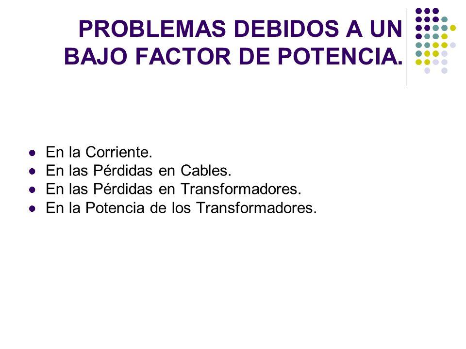 PROBLEMAS DEBIDOS A UN BAJO FACTOR DE POTENCIA. En la Corriente. En las Pérdidas en Cables. En las Pérdidas en Transformadores. En la Potencia de los