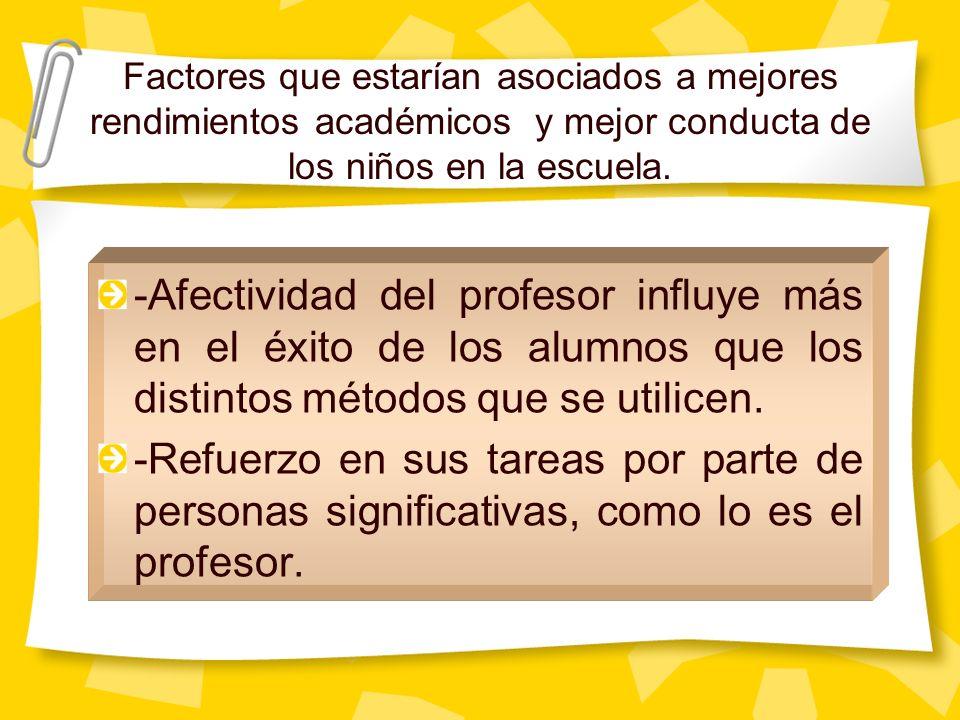 -Afectividad del profesor influye más en el éxito de los alumnos que los distintos métodos que se utilicen. -Refuerzo en sus tareas por parte de perso