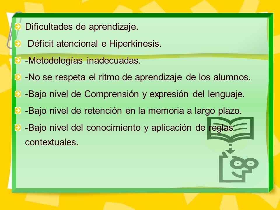 Dificultades de aprendizaje. Déficit atencional e Hiperkinesis. -Metodologías inadecuadas. -No se respeta el ritmo de aprendizaje de los alumnos. -Baj
