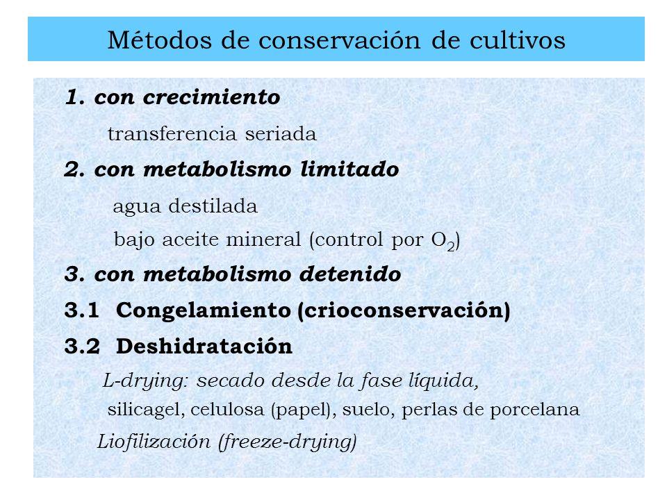 Métodos de conservación de cultivos 1. con crecimiento transferencia seriada 2. con metabolismo limitado agua destilada bajo aceite mineral (control p