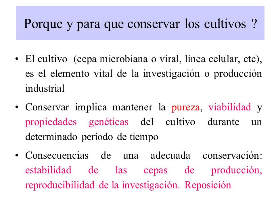 Los tres objetivos de la conservación: 1.-Mantenimiento del cultivo puro (PUREZA) 2.-Que este vivo (VIABILIDAD) 3.-genética estable (ESTABILIDAD)