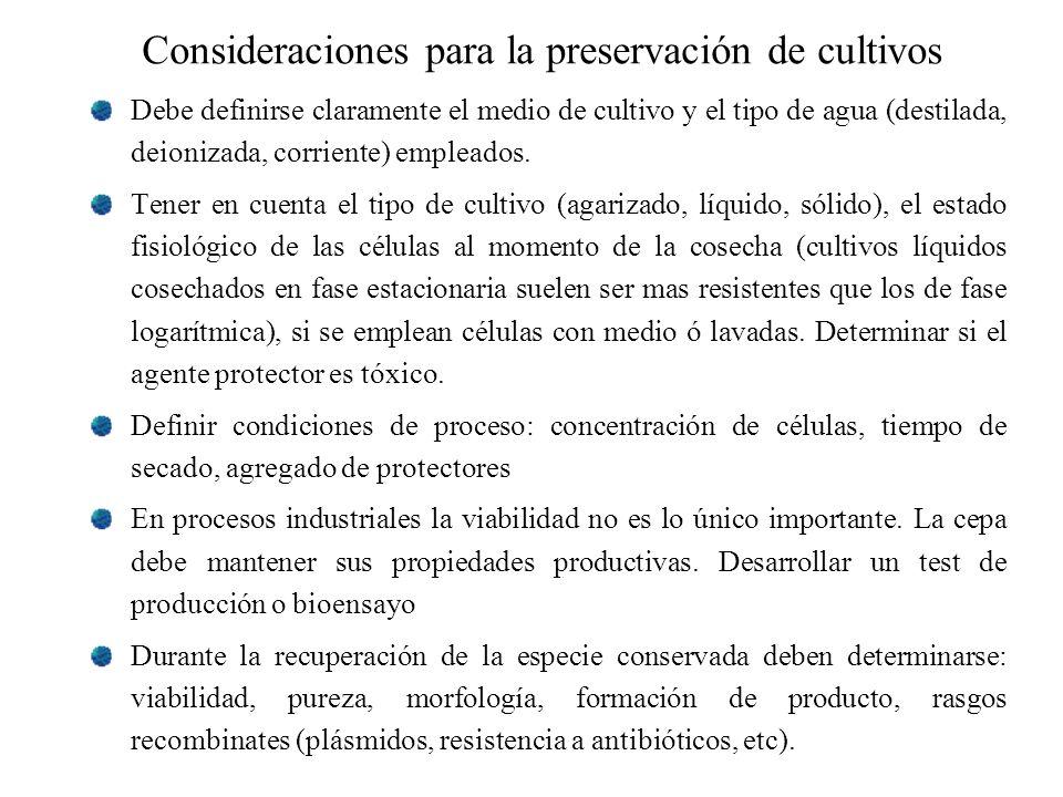 Consideraciones para la preservación de cultivos Debe definirse claramente el medio de cultivo y el tipo de agua (destilada, deionizada, corriente) em