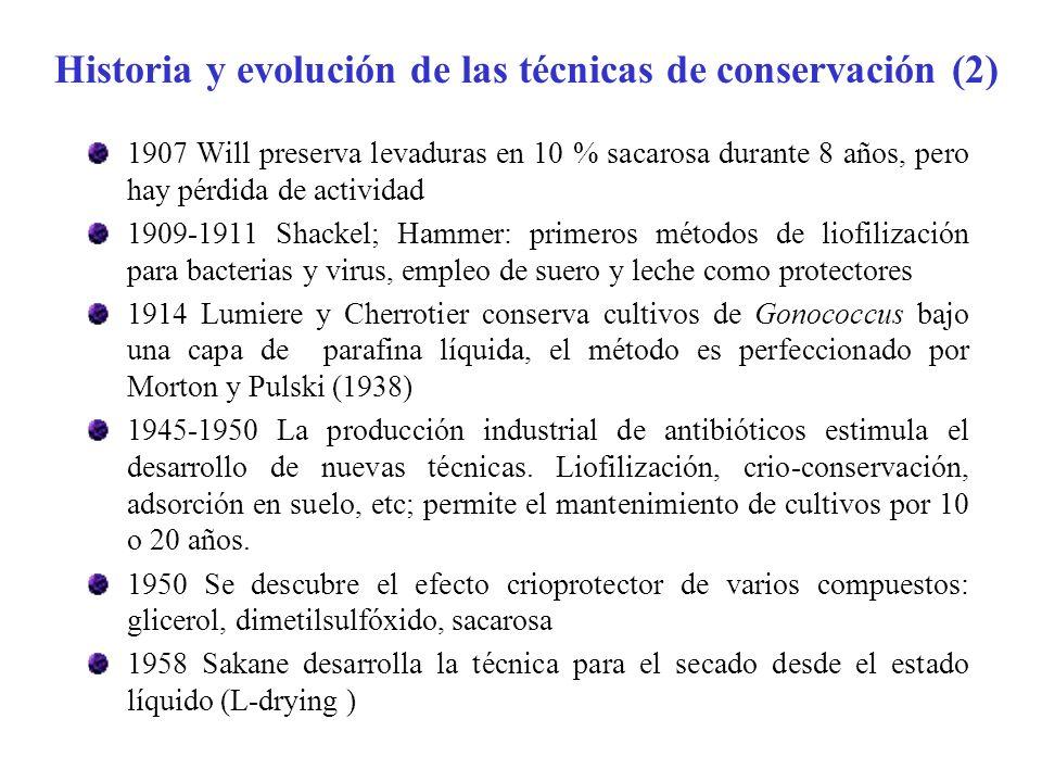 1907 Will preserva levaduras en 10 % sacarosa durante 8 años, pero hay pérdida de actividad 1909-1911 Shackel; Hammer: primeros métodos de liofilizaci