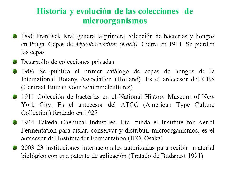 1890 Frantisek Kral genera la primera colección de bacterias y hongos en Praga. Cepas de Mycobacterium (Koch). Cierra en 1911. Se pierden las cepas De