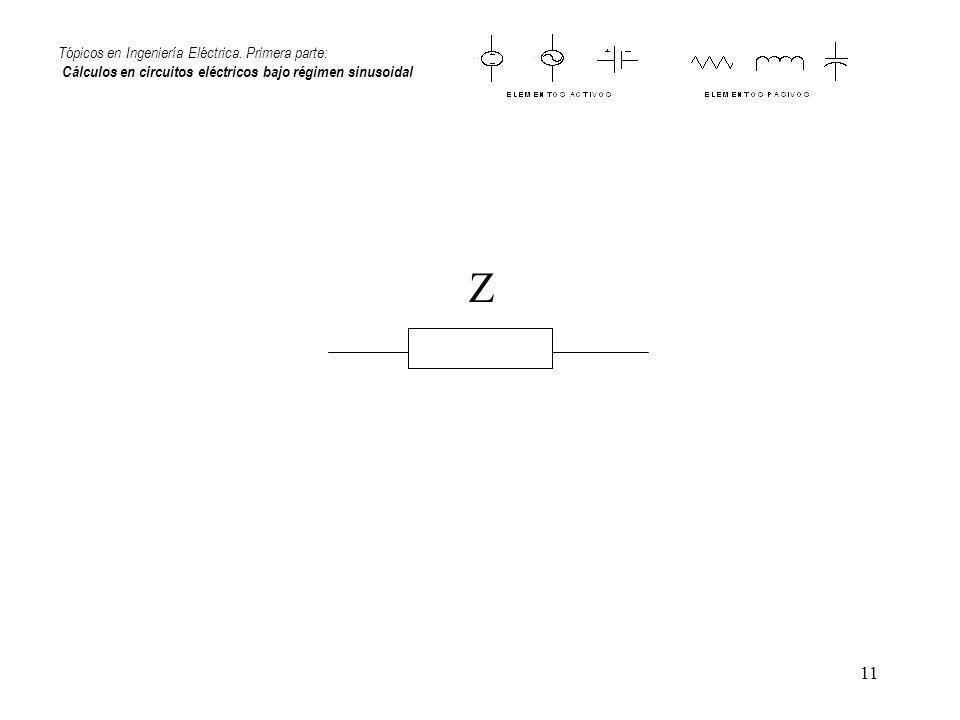 11 Tópicos en Ingeniería Eléctrica. Primera parte: Cálculos en circuitos eléctricos bajo régimen sinusoidal Z