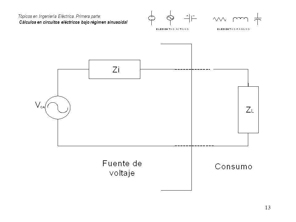 13 Tópicos en Ingeniería Eléctrica. Primera parte: Cálculos en circuitos eléctricos bajo régimen sinusoidal