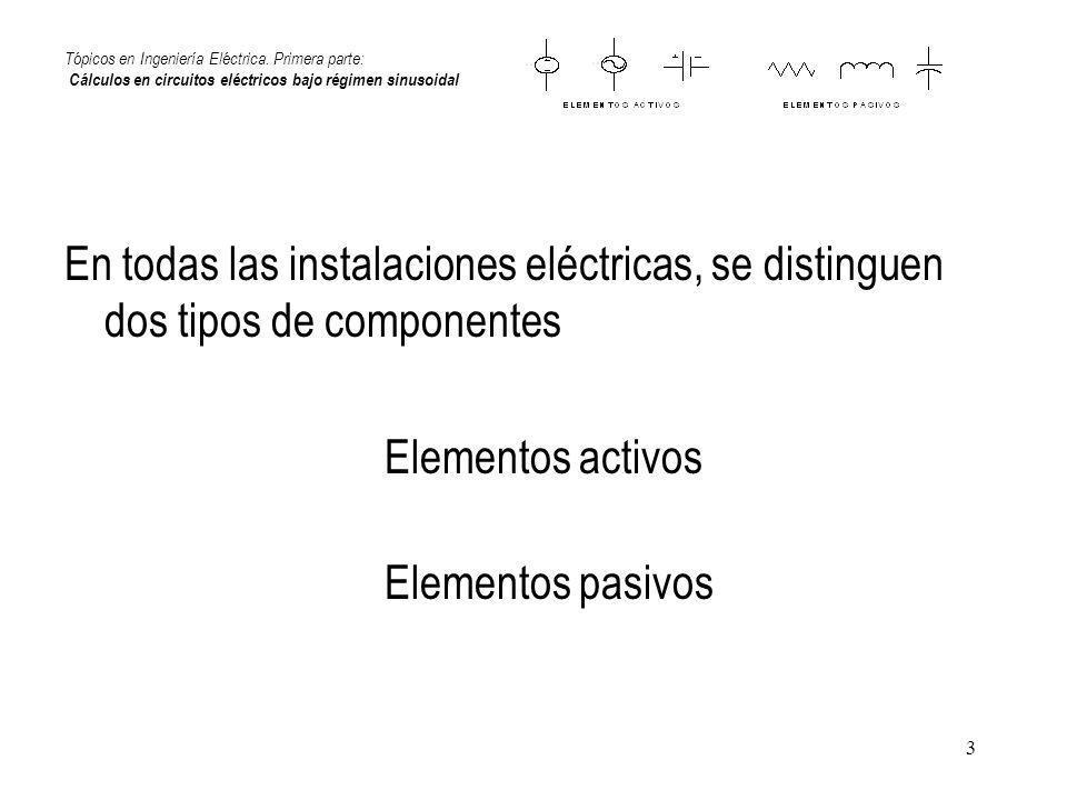 3 Tópicos en Ingeniería Eléctrica. Primera parte: Cálculos en circuitos eléctricos bajo régimen sinusoidal En todas las instalaciones eléctricas, se d