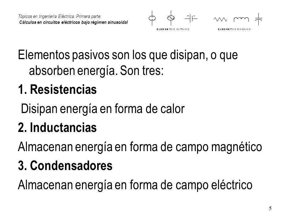 5 Tópicos en Ingeniería Eléctrica. Primera parte: Cálculos en circuitos eléctricos bajo régimen sinusoidal Elementos pasivos son los que disipan, o qu
