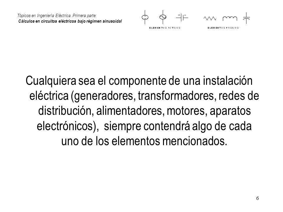 6 Tópicos en Ingeniería Eléctrica. Primera parte: Cálculos en circuitos eléctricos bajo régimen sinusoidal Cualquiera sea el componente de una instala