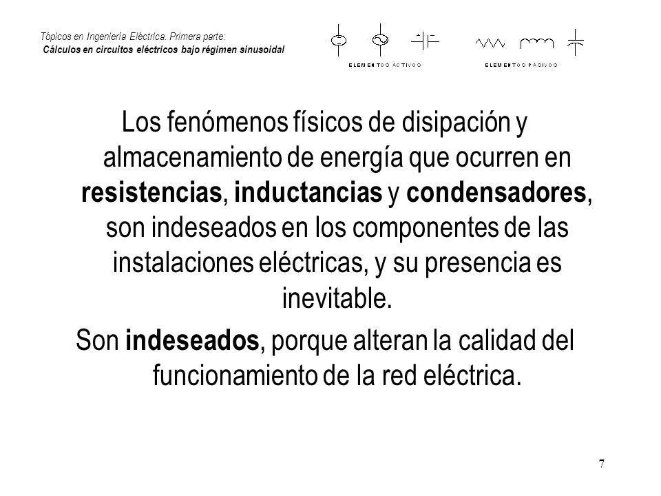 7 Tópicos en Ingeniería Eléctrica. Primera parte: Cálculos en circuitos eléctricos bajo régimen sinusoidal Los fenómenos físicos de disipación y almac