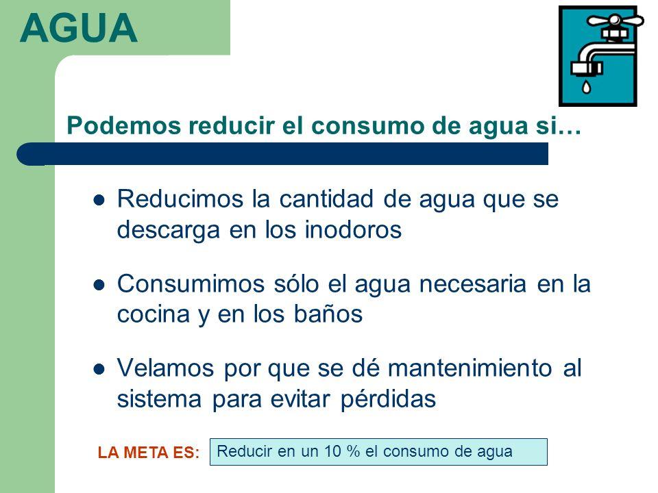Podemos reducir el consumo de agua si… Reducimos la cantidad de agua que se descarga en los inodoros Consumimos sólo el agua necesaria en la cocina y