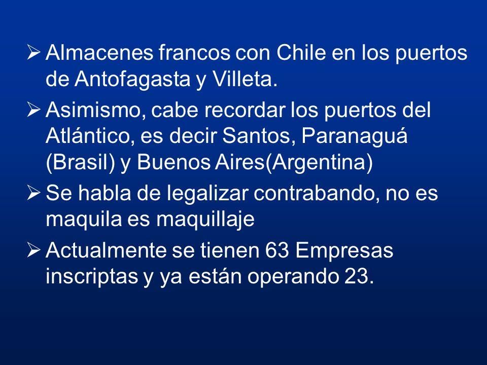Almacenes francos con Chile en los puertos de Antofagasta y Villeta. Asimismo, cabe recordar los puertos del Atlántico, es decir Santos, Paranaguá (Br