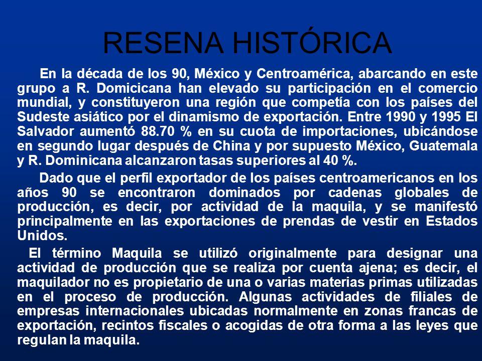 RESENA HISTÓRICA En la década de los 90, México y Centroamérica, abarcando en este grupo a R. Domicicana han elevado su participación en el comercio m