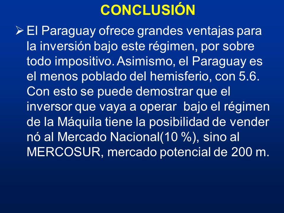 CONCLUSIÓN El Paraguay ofrece grandes ventajas para la inversión bajo este régimen, por sobre todo impositivo. Asimismo, el Paraguay es el menos pobla