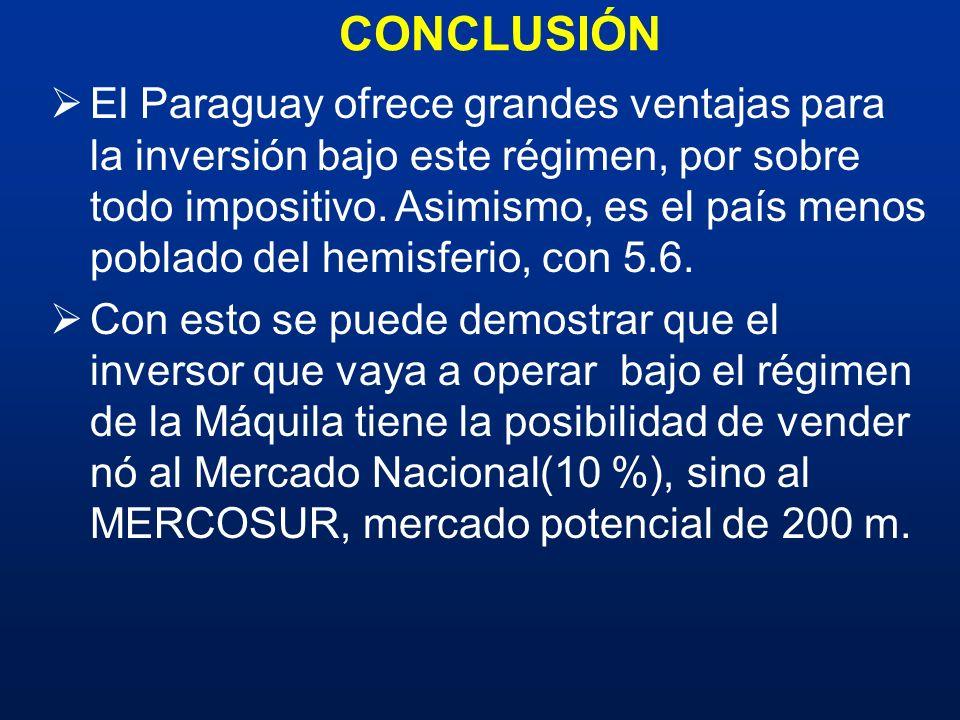 CONCLUSIÓN El Paraguay ofrece grandes ventajas para la inversión bajo este régimen, por sobre todo impositivo. Asimismo, es el país menos poblado del