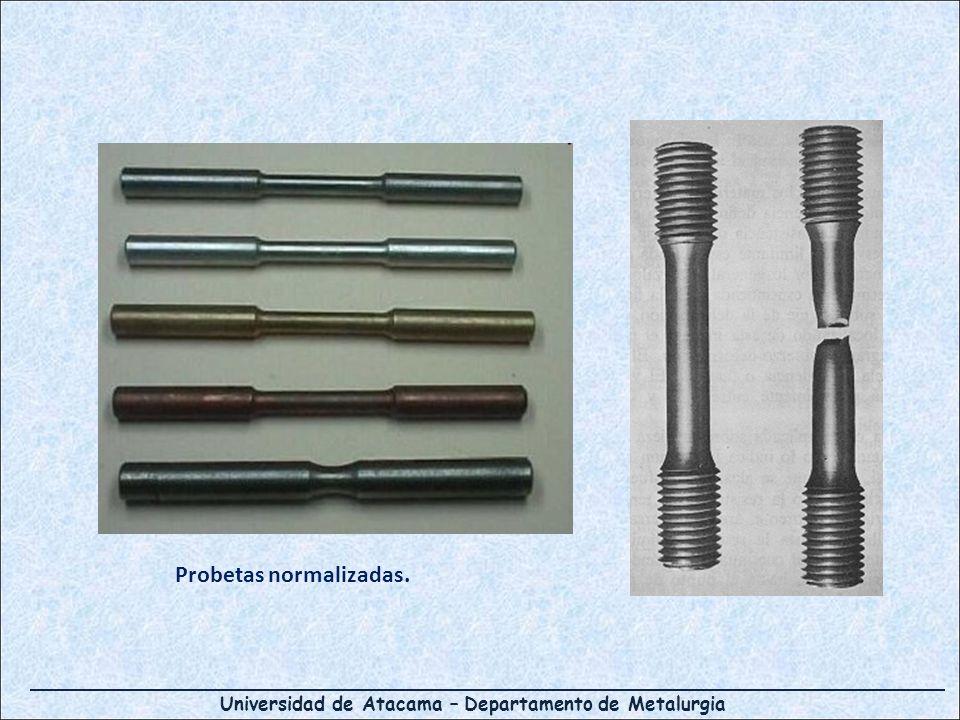 Universidad de Atacama – Departamento de Metalurgia Probetas normalizadas.
