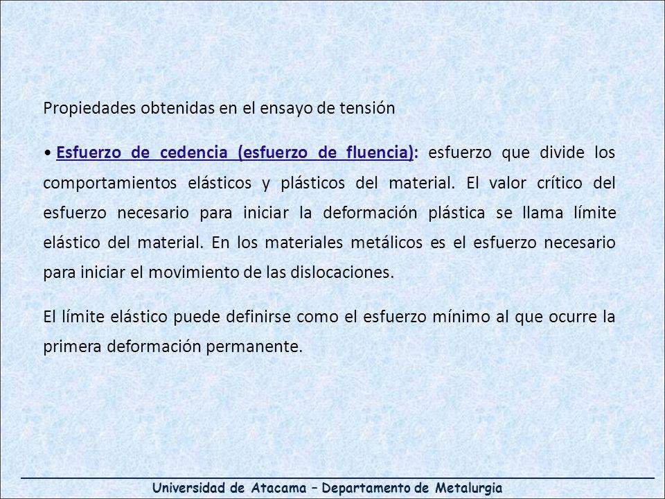 Universidad de Atacama – Departamento de Metalurgia Propiedades obtenidas en el ensayo de tensión Esfuerzo de cedencia (esfuerzo de fluencia): esfuerz