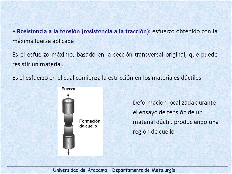 Resistencia a la tensión (resistencia a la tracción): esfuerzo obtenido con la máxima fuerza aplicada Es el esfuerzo máximo, basado en la sección transversal original, que puede resistir un material.