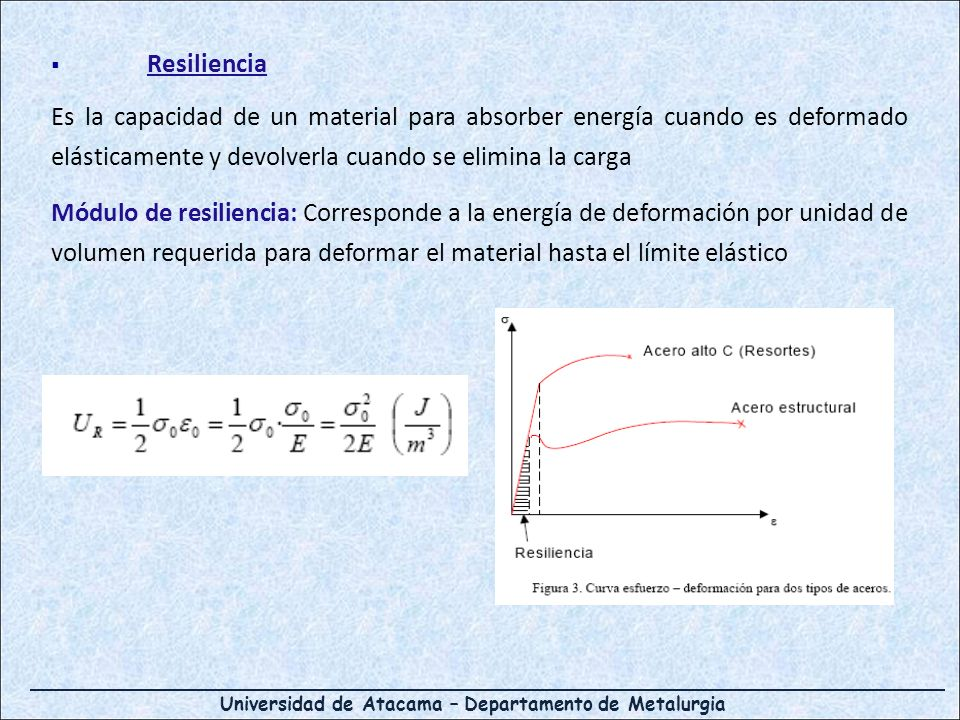 Universidad de Atacama – Departamento de Metalurgia Resiliencia Es la capacidad de un material para absorber energía cuando es deformado elásticamente y devolverla cuando se elimina la carga Módulo de resiliencia: Corresponde a la energía de deformación por unidad de volumen requerida para deformar el material hasta el límite elástico