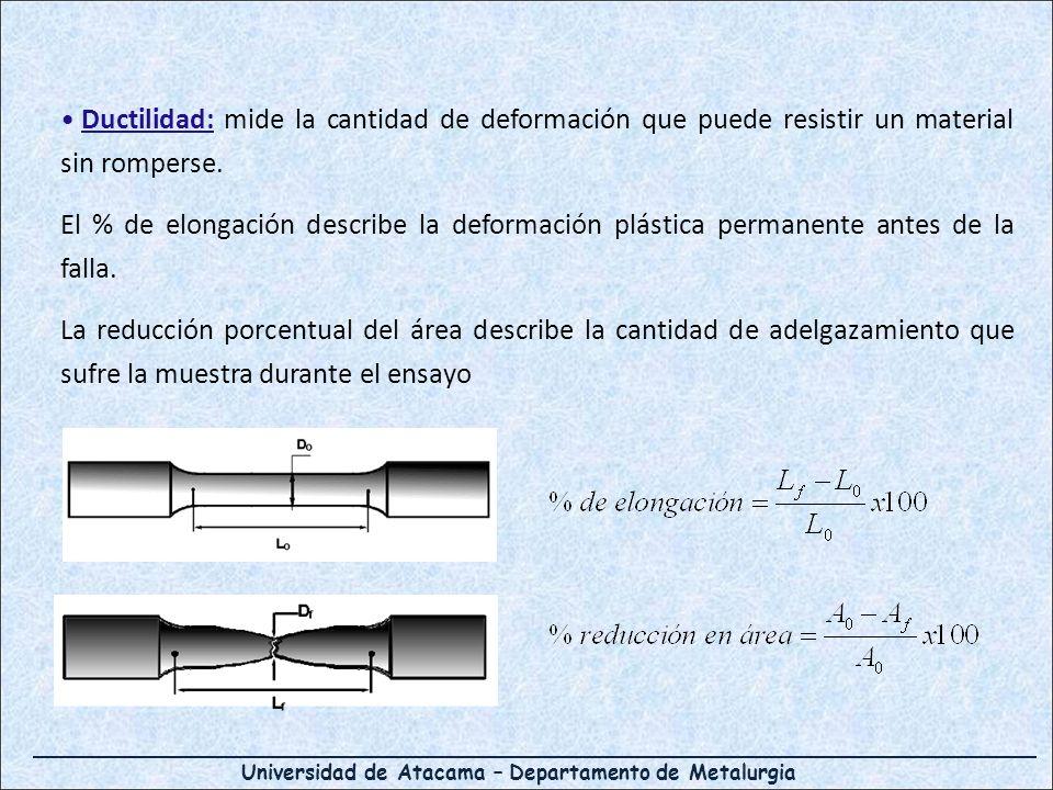 Universidad de Atacama – Departamento de Metalurgia Ductilidad: mide la cantidad de deformación que puede resistir un material sin romperse. El % de e