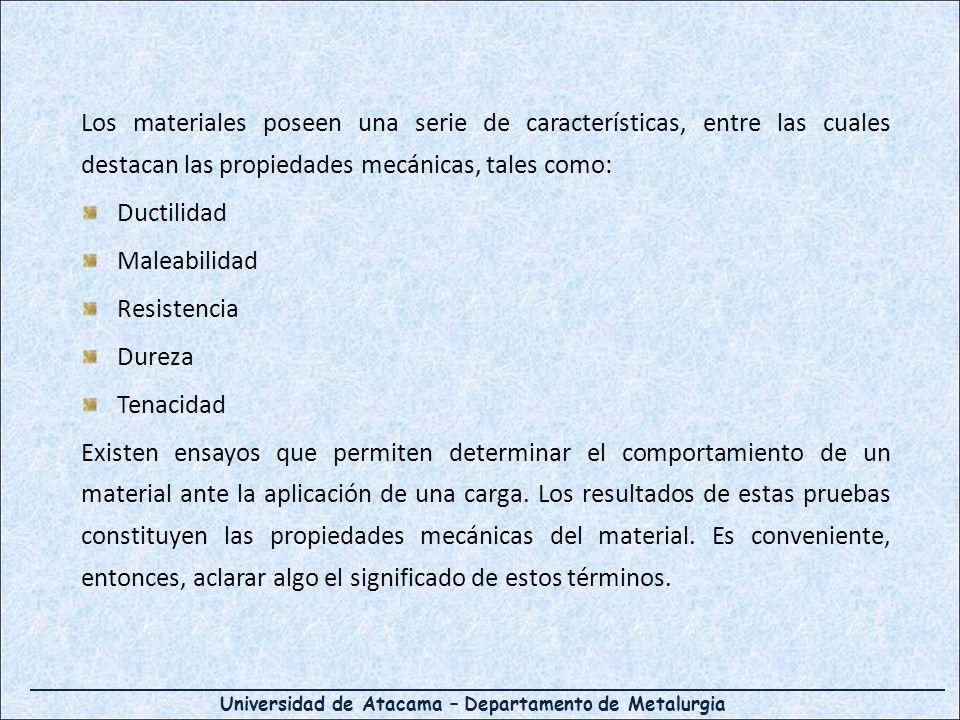 Universidad de Atacama – Departamento de Metalurgia Los materiales poseen una serie de características, entre las cuales destacan las propiedades mecánicas, tales como: Ductilidad Maleabilidad Resistencia Dureza Tenacidad Existen ensayos que permiten determinar el comportamiento de un material ante la aplicación de una carga.