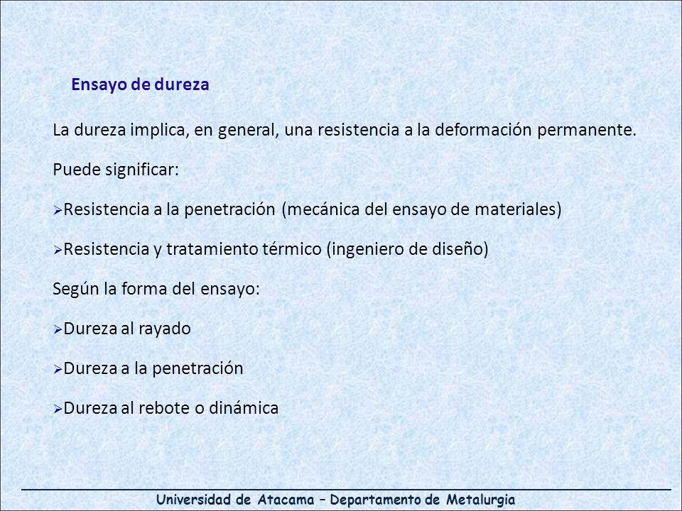 Universidad de Atacama – Departamento de Metalurgia Ensayo de dureza La dureza implica, en general, una resistencia a la deformación permanente. Puede