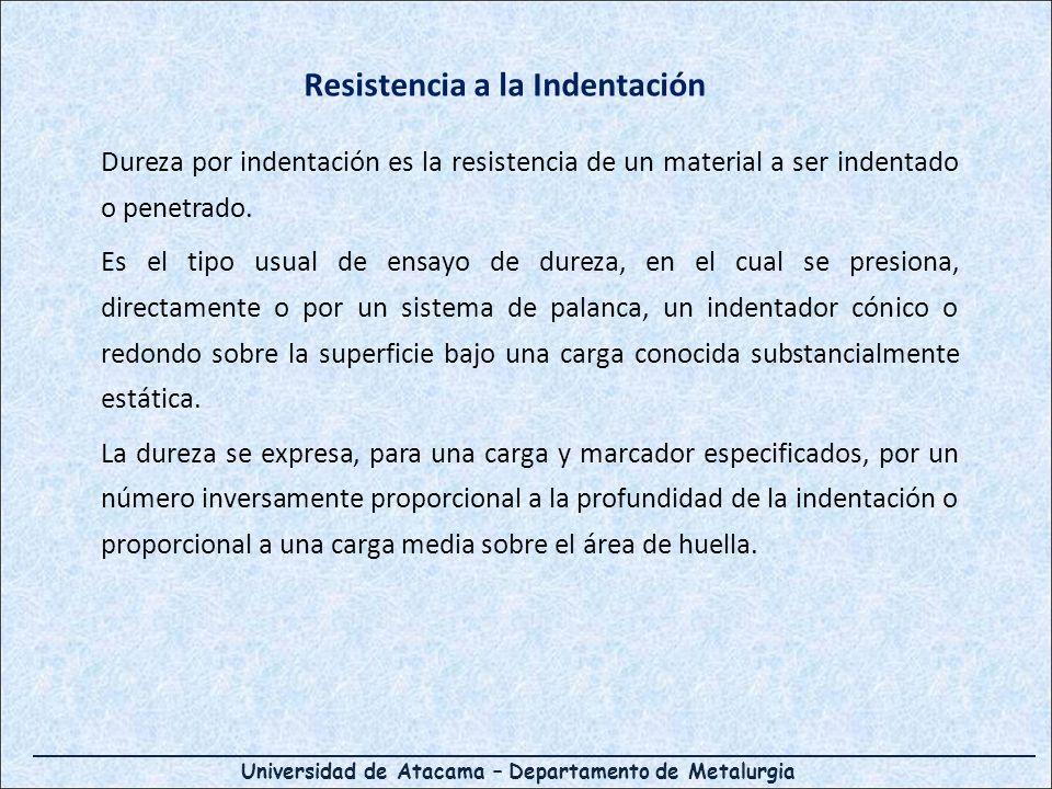 Universidad de Atacama – Departamento de Metalurgia Dureza por indentación es la resistencia de un material a ser indentado o penetrado. Es el tipo us