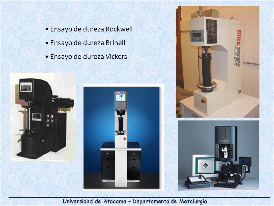 Universidad de Atacama – Departamento de Metalurgia Ensayo de dureza Rockwell Ensayo de dureza Brinell Ensayo de dureza Vickers