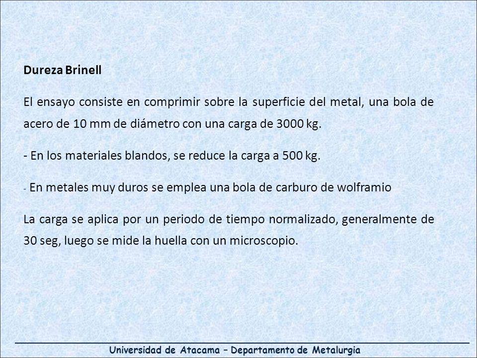 Universidad de Atacama – Departamento de Metalurgia Dureza Brinell El ensayo consiste en comprimir sobre la superficie del metal, una bola de acero de
