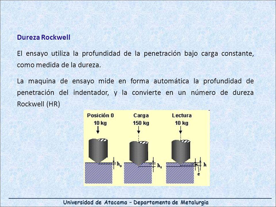 Universidad de Atacama – Departamento de Metalurgia Dureza Rockwell El ensayo utiliza la profundidad de la penetración bajo carga constante, como medi