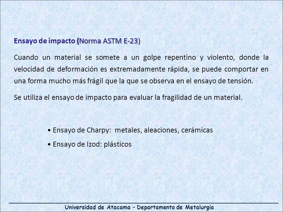 (Norma ASTM E-23) Ensayo de impacto (Norma ASTM E-23) Cuando un material se somete a un golpe repentino y violento, donde la velocidad de deformación es extremadamente rápida, se puede comportar en una forma mucho más frágil que la que se observa en el ensayo de tensión.