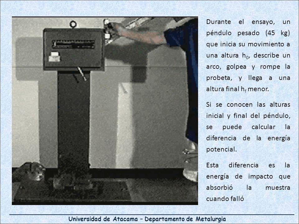 Universidad de Atacama – Departamento de Metalurgia Durante el ensayo, un péndulo pesado (45 kg) que inicia su movimiento a una altura h 0, describe u