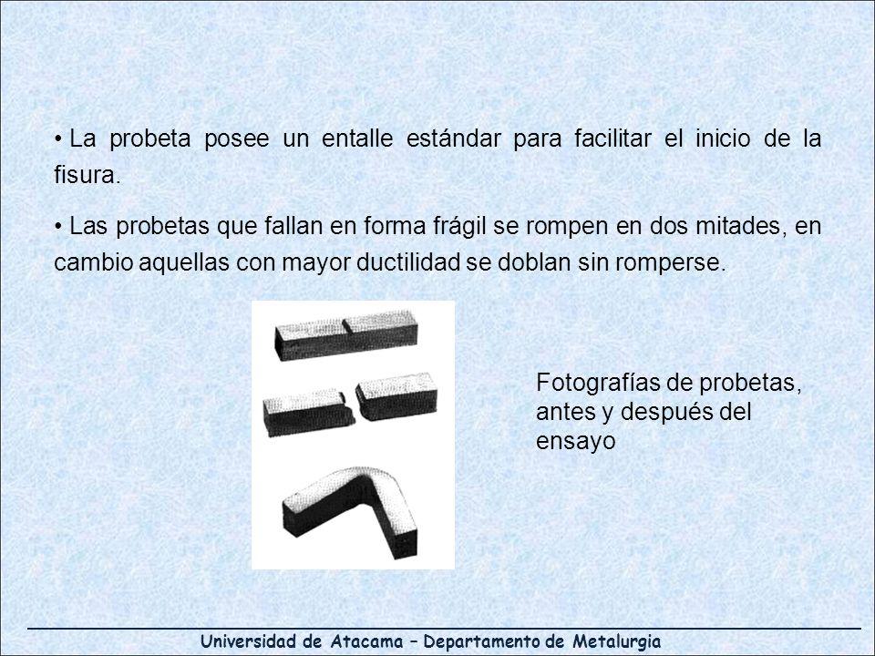 Universidad de Atacama – Departamento de Metalurgia La probeta posee un entalle estándar para facilitar el inicio de la fisura.