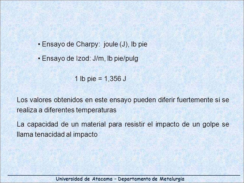 Universidad de Atacama – Departamento de Metalurgia Ensayo de Charpy: joule (J), lb pie Ensayo de Izod: J/m, lb pie/pulg 1 lb pie = 1,356 J Los valores obtenidos en este ensayo pueden diferir fuertemente si se realiza a diferentes temperaturas La capacidad de un material para resistir el impacto de un golpe se llama tenacidad al impacto