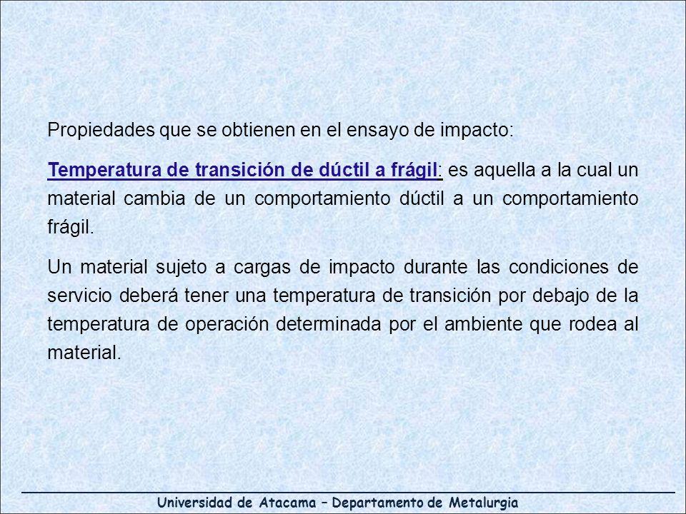 Universidad de Atacama – Departamento de Metalurgia Propiedades que se obtienen en el ensayo de impacto: Temperatura de transición de dúctil a frágil: