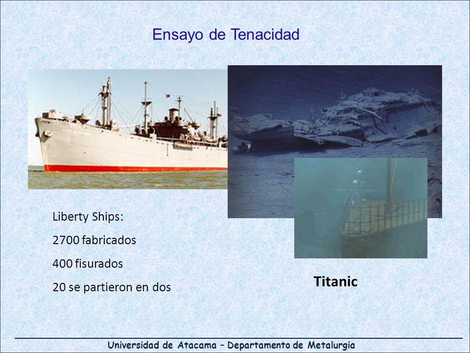 Universidad de Atacama – Departamento de Metalurgia Ensayo de Tenacidad Liberty Ships: 2700 fabricados 400 fisurados 20 se partieron en dos Titanic