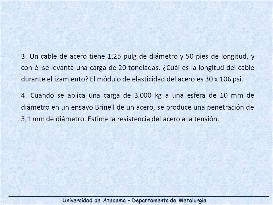 Universidad de Atacama – Departamento de Metalurgia 3. Un cable de acero tiene 1,25 pulg de diámetro y 50 pies de longitud, y con él se levanta una ca