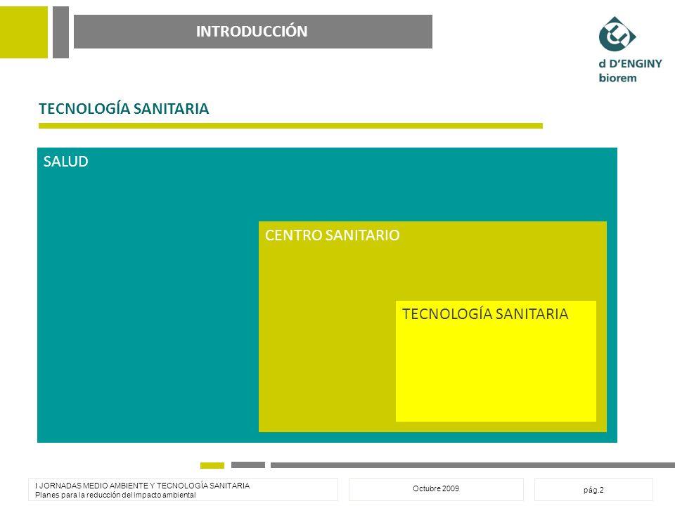 INTRODUCCIÓN I JORNADAS MEDIO AMBIENTE Y TECNOLOGÍA SANITARIA Planes para la reducción del impacto ambiental Octubre 2009 pág.2 TECNOLOGÍA SANITARIA SALUD CENTRO SANITARIO TECNOLOGÍA SANITARIA