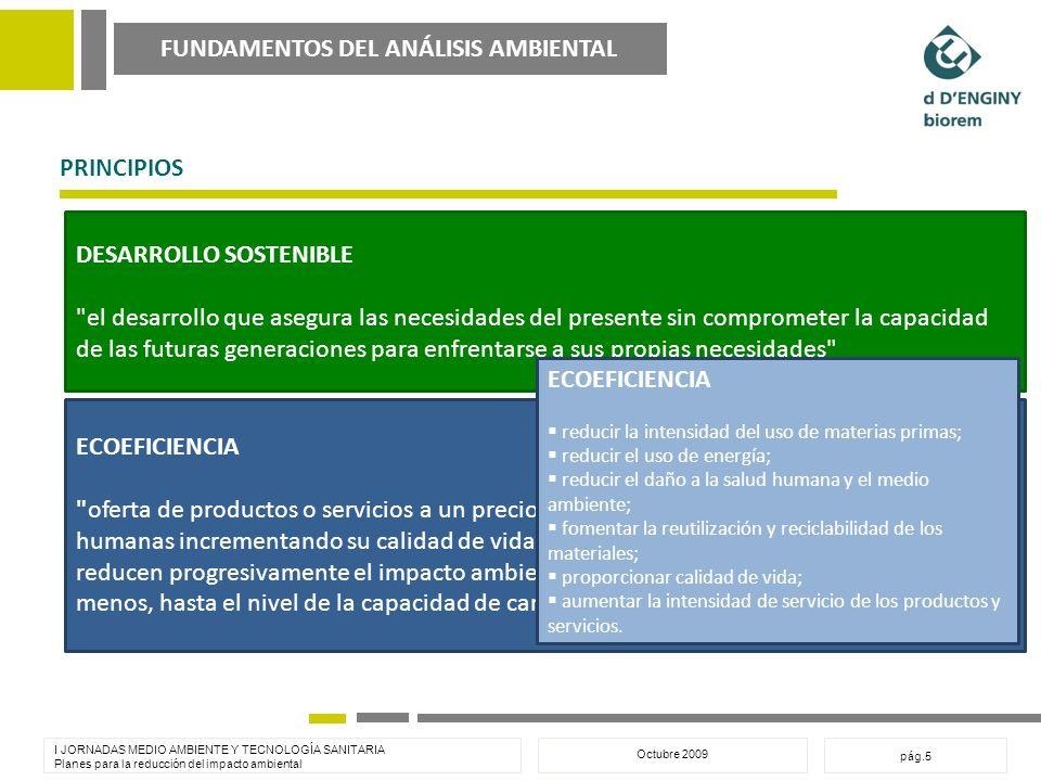 FUNDAMENTOS DEL ANÁLISIS AMBIENTAL I JORNADAS MEDIO AMBIENTE Y TECNOLOGÍA SANITARIA Planes para la reducción del impacto ambiental Octubre 2009 pág.5 PRINCIPIOS DESARROLLO SOSTENIBLE el desarrollo que asegura las necesidades del presente sin comprometer la capacidad de las futuras generaciones para enfrentarse a sus propias necesidades ECOEFICIENCIA oferta de productos o servicios a un precio competitivo, que satisfacen las necesidades humanas incrementando su calidad de vida, mientras a lo largo de su ciclo de vida reducen progresivamente el impacto ambiental y la intensidad del uso de recursos, al menos, hasta el nivel de la capacidad de carga del planeta (M.