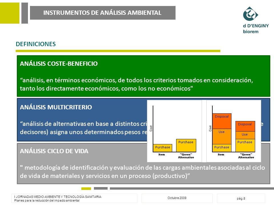 INSTRUMENTOS DE ANÁLISIS AMBIENTAL I JORNADAS MEDIO AMBIENTE Y TECNOLOGÍA SANITARIA Planes para la reducción del impacto ambiental Octubre 2009 pág.8 DEFINICIONES ANÁLISIS COSTE-BENEFICIO análisis, en términos económicos, de todos los criterios tomados en consideración, tanto los directamente económicos, como los no económicos ANÁLISIS MULTICRITERIO análisis de alternativas en base a distintos criterios, a los cuales el decisor (o equipo de decisores) asigna unos determinados pesos relativos ANÁLISIS CICLO DE VIDA metodología de identificación y evaluación de las cargas ambientales asociadas al ciclo de vida de materiales y servicios en un proceso (productivo)