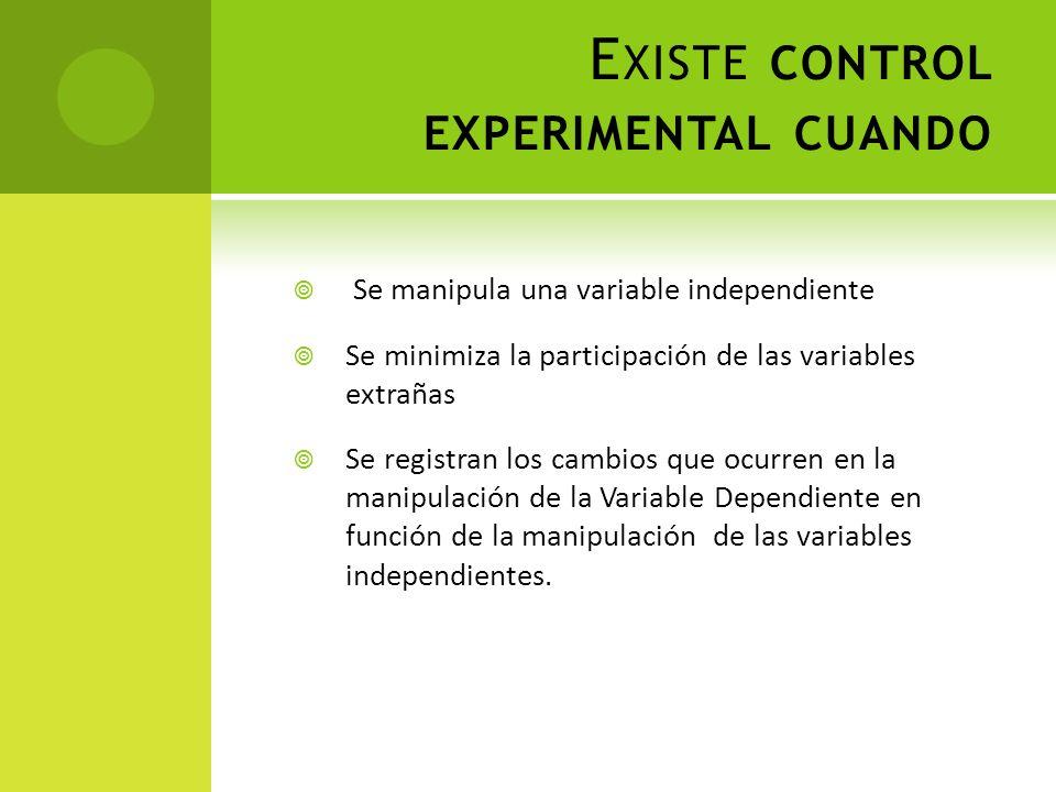 E XISTE CONTROL EXPERIMENTAL CUANDO Se manipula una variable independiente Se minimiza la participación de las variables extrañas Se registran los cam