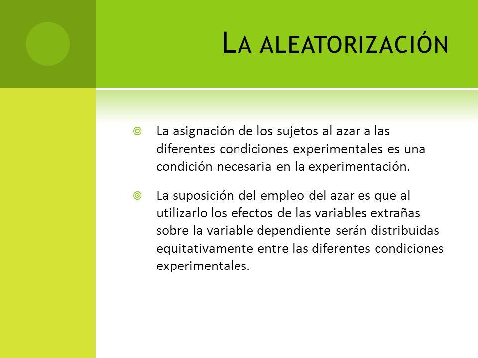 L A ALEATORIZACIÓN La asignación de los sujetos al azar a las diferentes condiciones experimentales es una condición necesaria en la experimentación.
