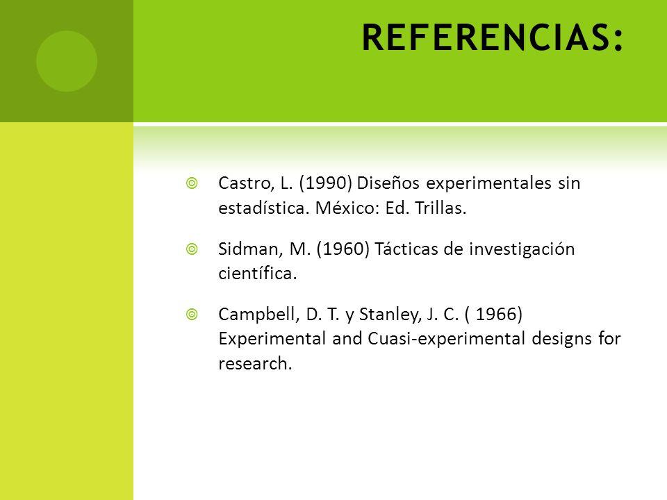 REFERENCIAS: Castro, L. (1990) Diseños experimentales sin estadística. México: Ed. Trillas. Sidman, M. (1960) Tácticas de investigación científica. Ca